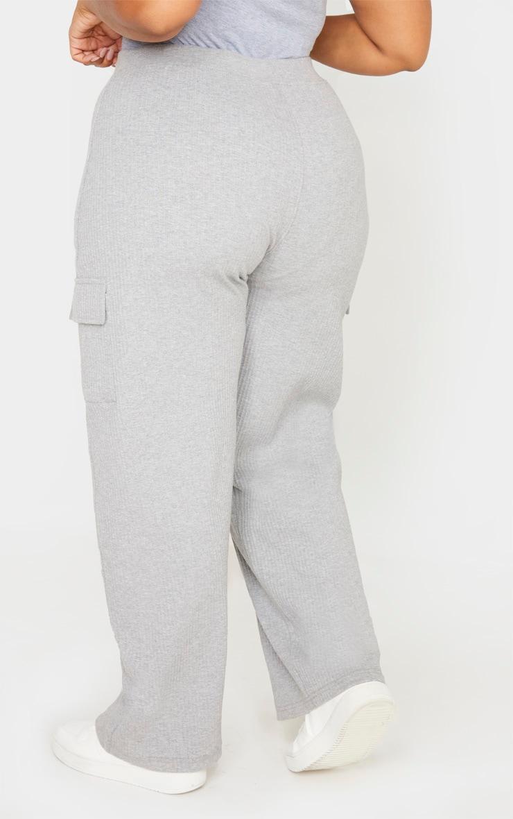 Plus Grey Rib Pocket Detail Wide Leg Pants 4
