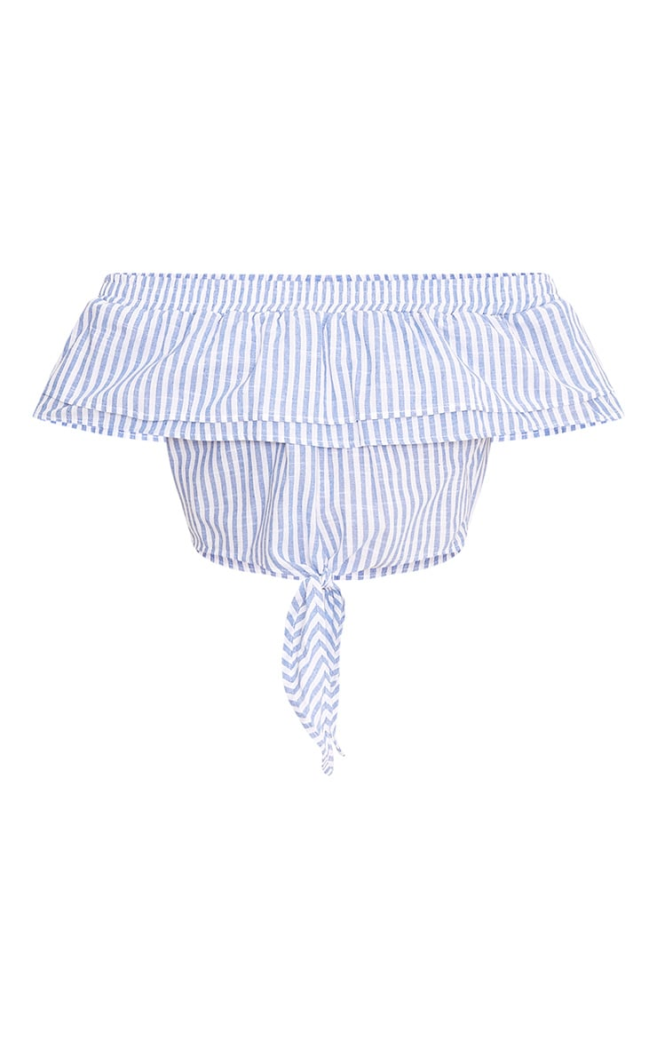 Ashleigh Light Blue Stripe Bardot Frill Tie Front Crop Top 3