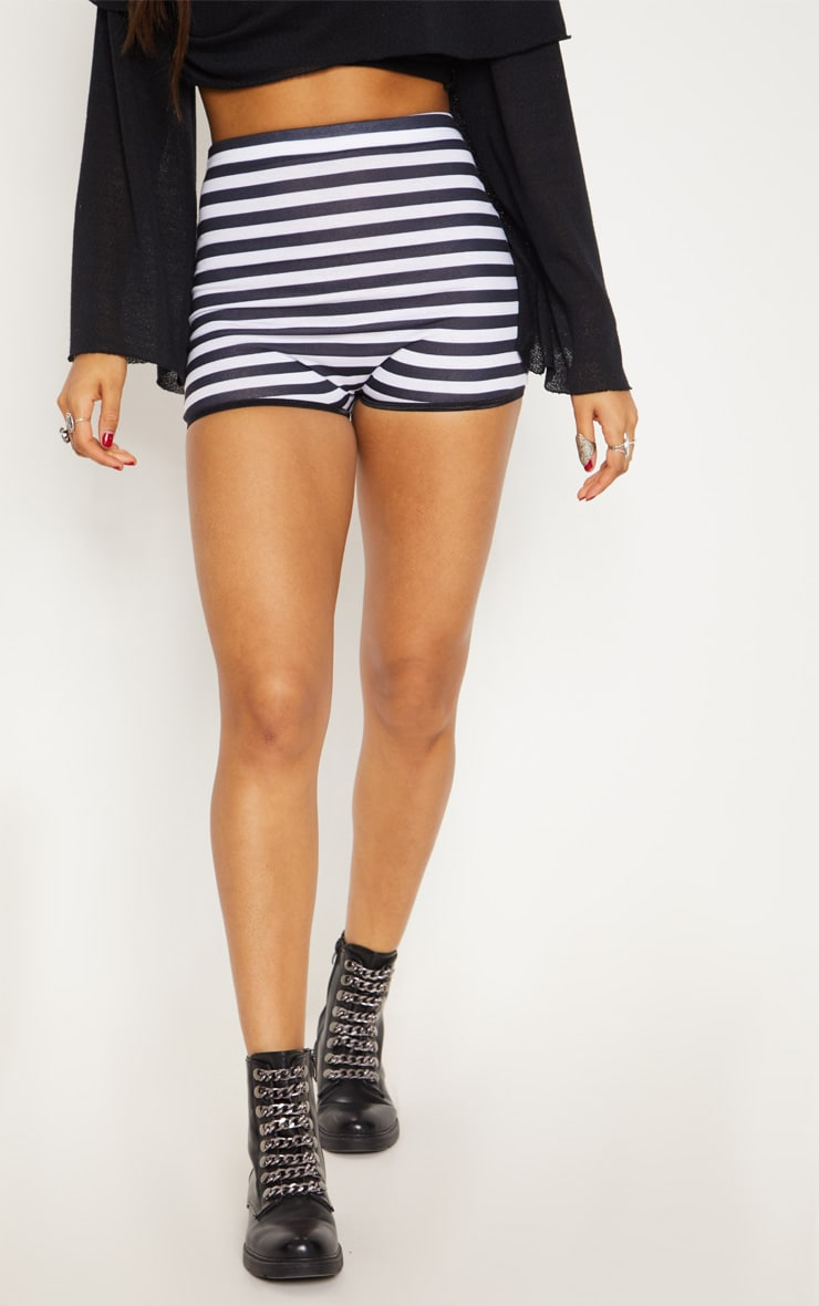Black High Waisted Stripe Hot Pant 2