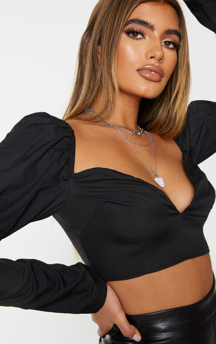 Black Woven Plunge Cropped Blouse 4
