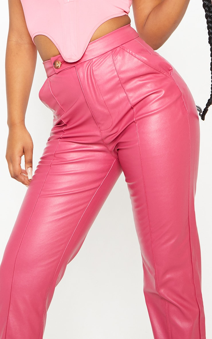 Hot Pink Faux Leather Pintuck Detail Straight Leg Trousers 4