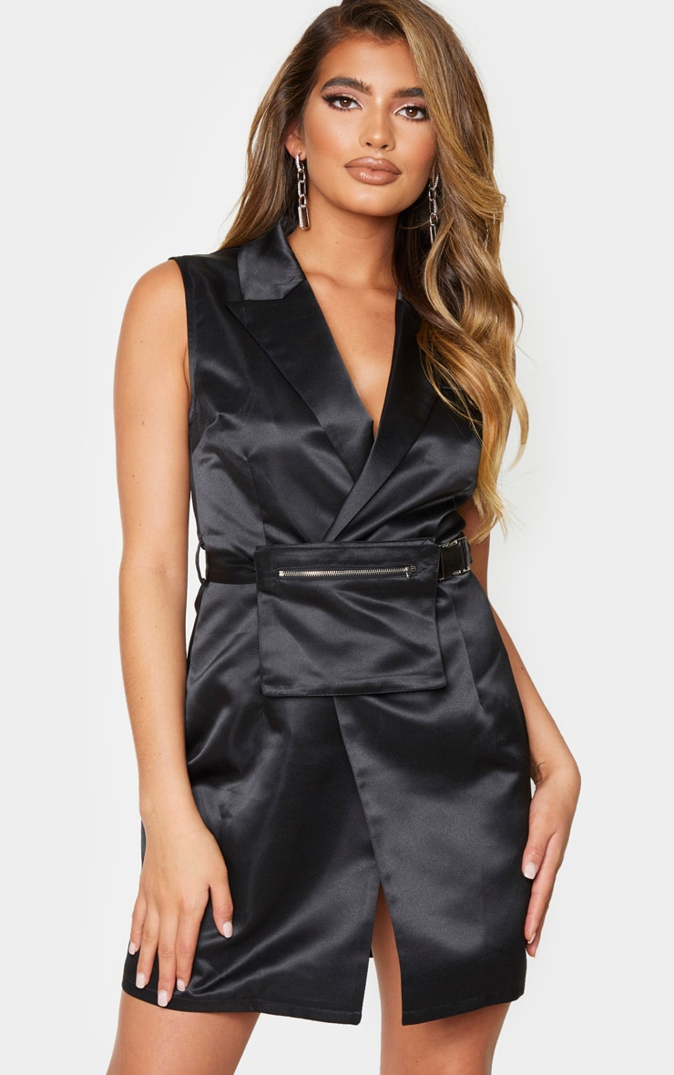 Black Satin Belt Pocket Detail Sleeveless Blazer Dress 3