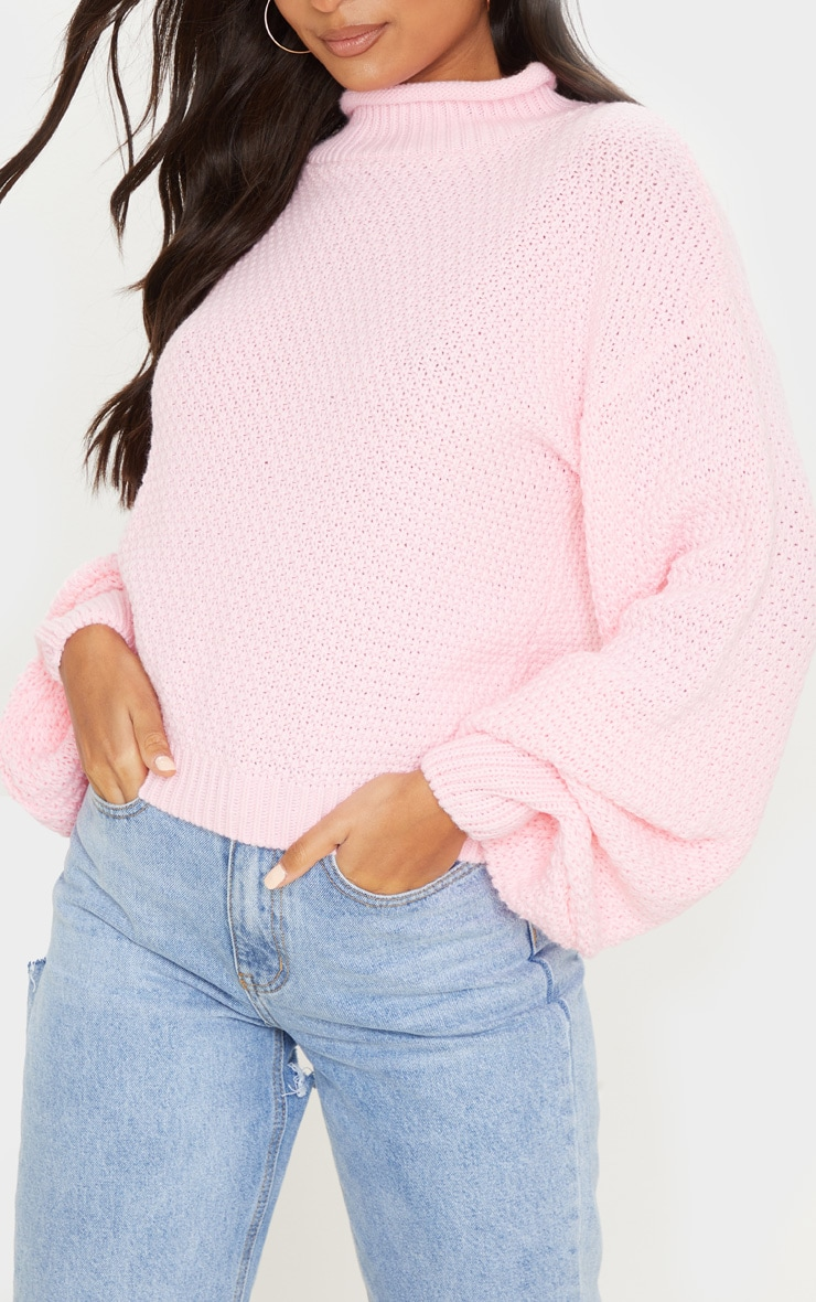 Baby Pink Textured Knit Roll Neck Sweater 5