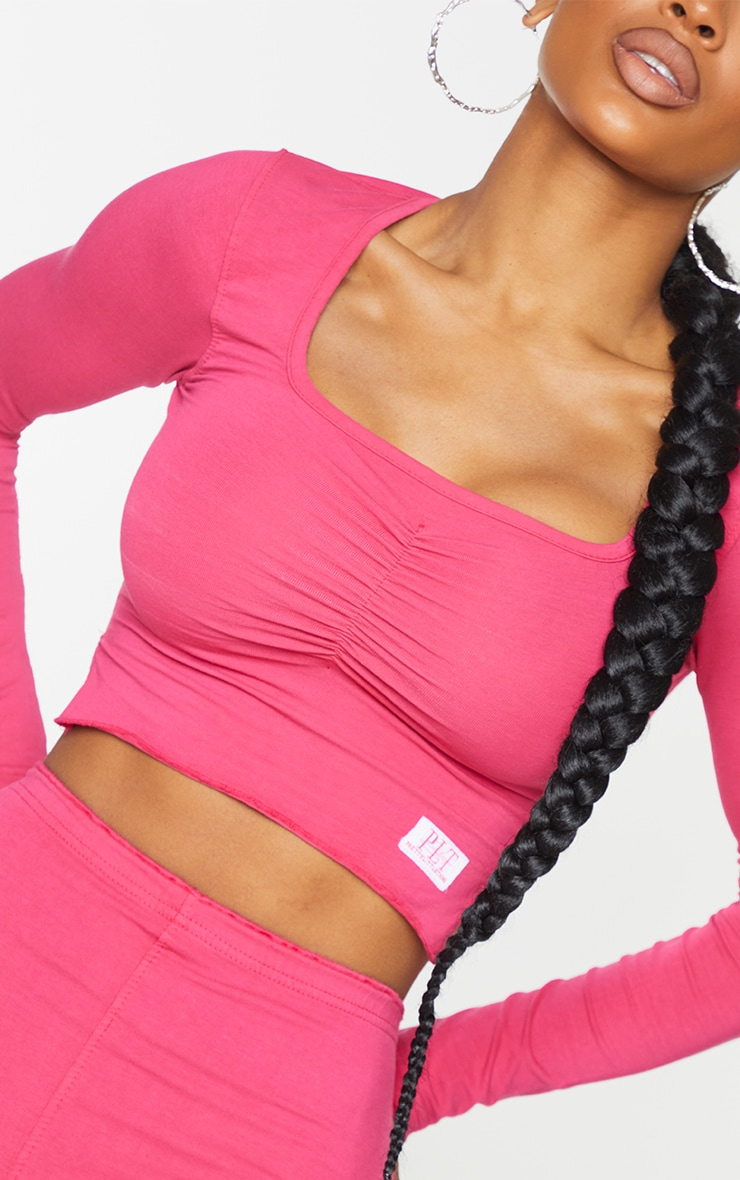 PRETTYLITTLETHING Shape Hot Pink Ruched Front Top 4