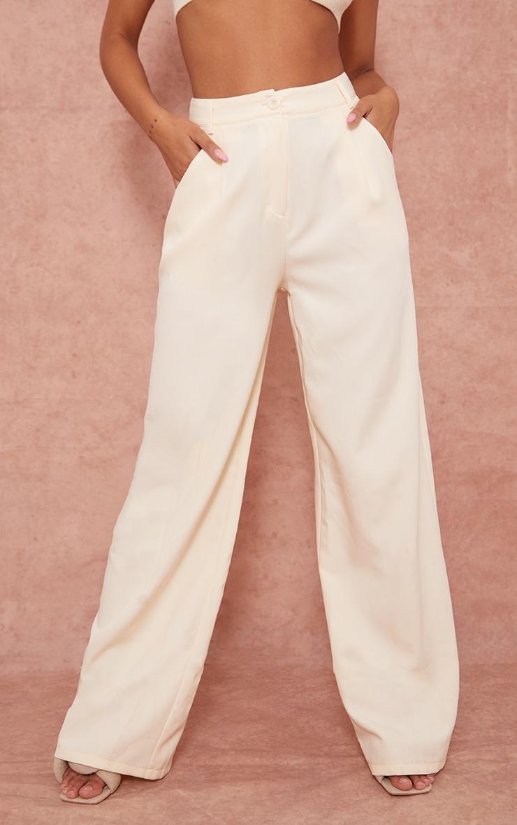Cream Woven Wide Leg Suit Trousers 2