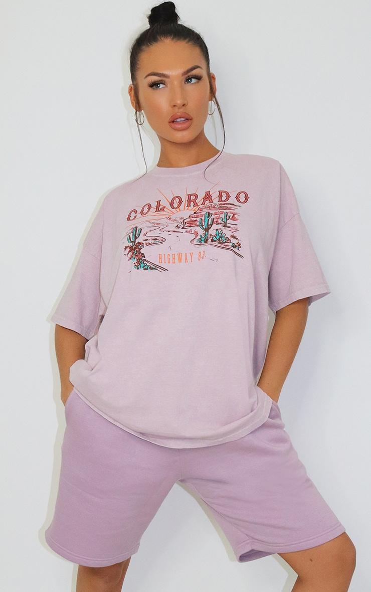 Mauve Colorado Logo Oversized Washed T Shirt 1