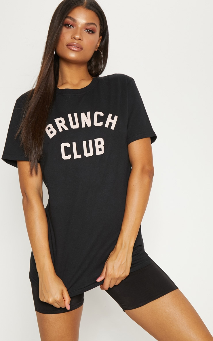 BLACK BRUNCH CLUB SLOGAN OVERSIZED T SHIRT