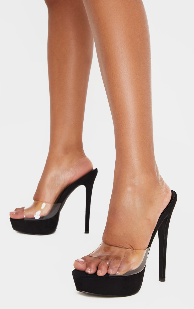 Black High Platform Clear Mule Sandals 2