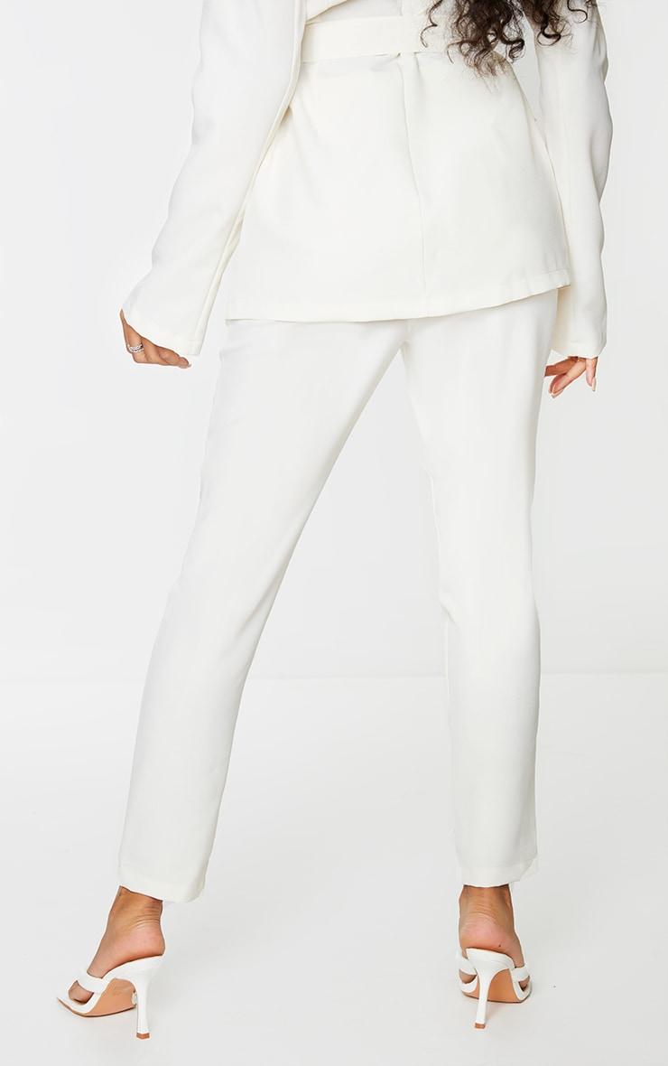 Cream Woven Ankle Grazer Trousers 3