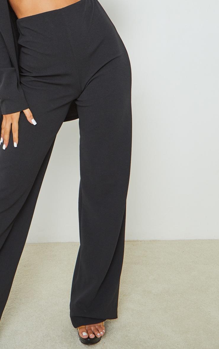 Black Crepe Seam Front Wide Leg Pants 4