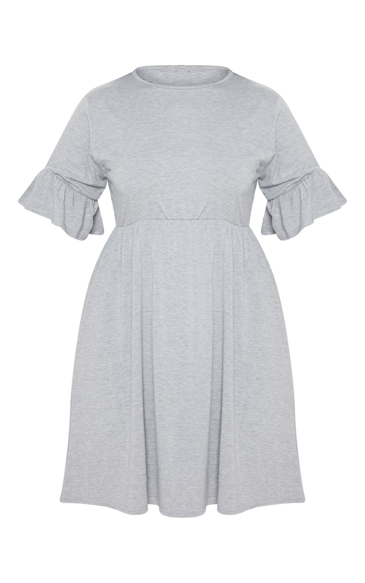 Plus Grey Marl Frill Detail Smock Dress 4