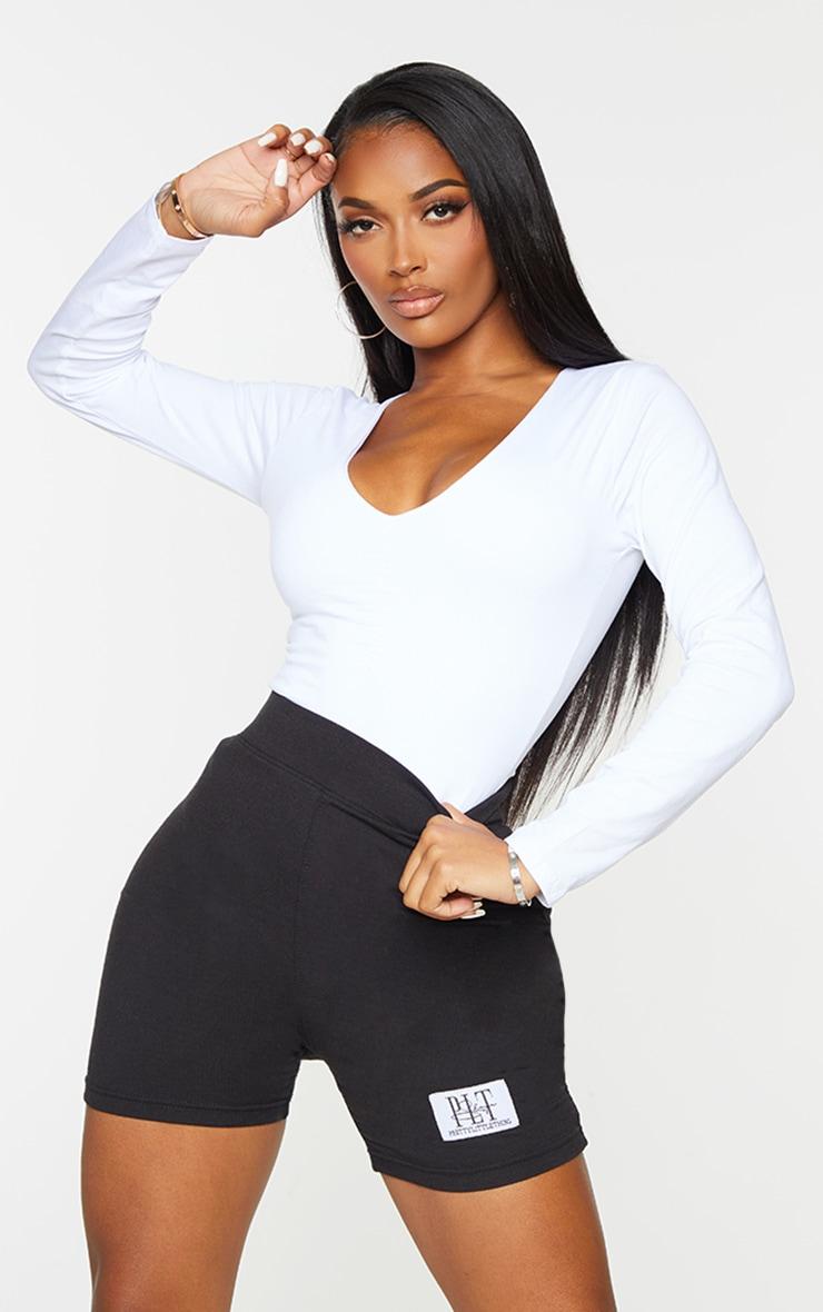 Basic Shape White Cotton Blend Jersey Ruched Long Sleeve Bodysuit 1