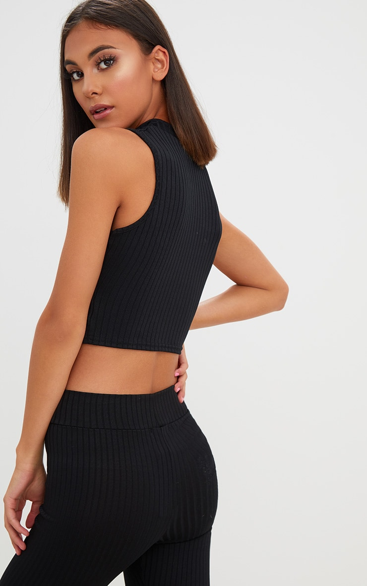 Black High Neck Keyhole Ribbed Crop Top  2