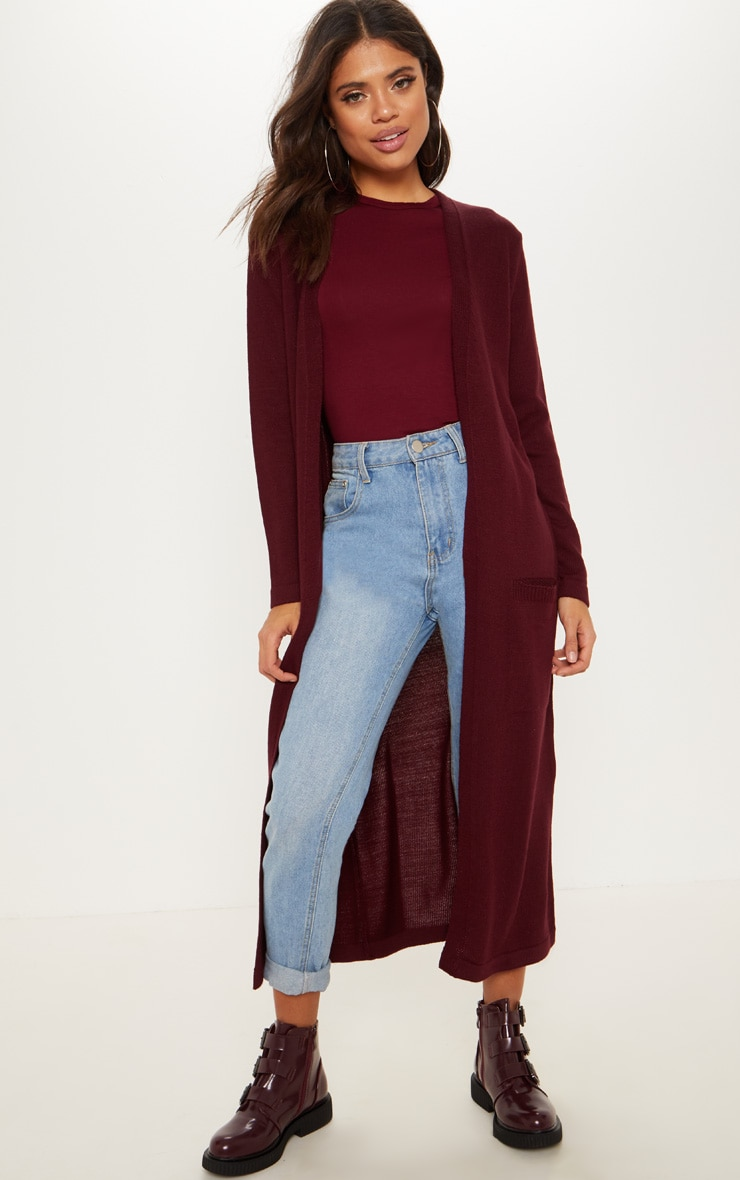 Burgundy Knitted Maxi Cardigan With Pocket