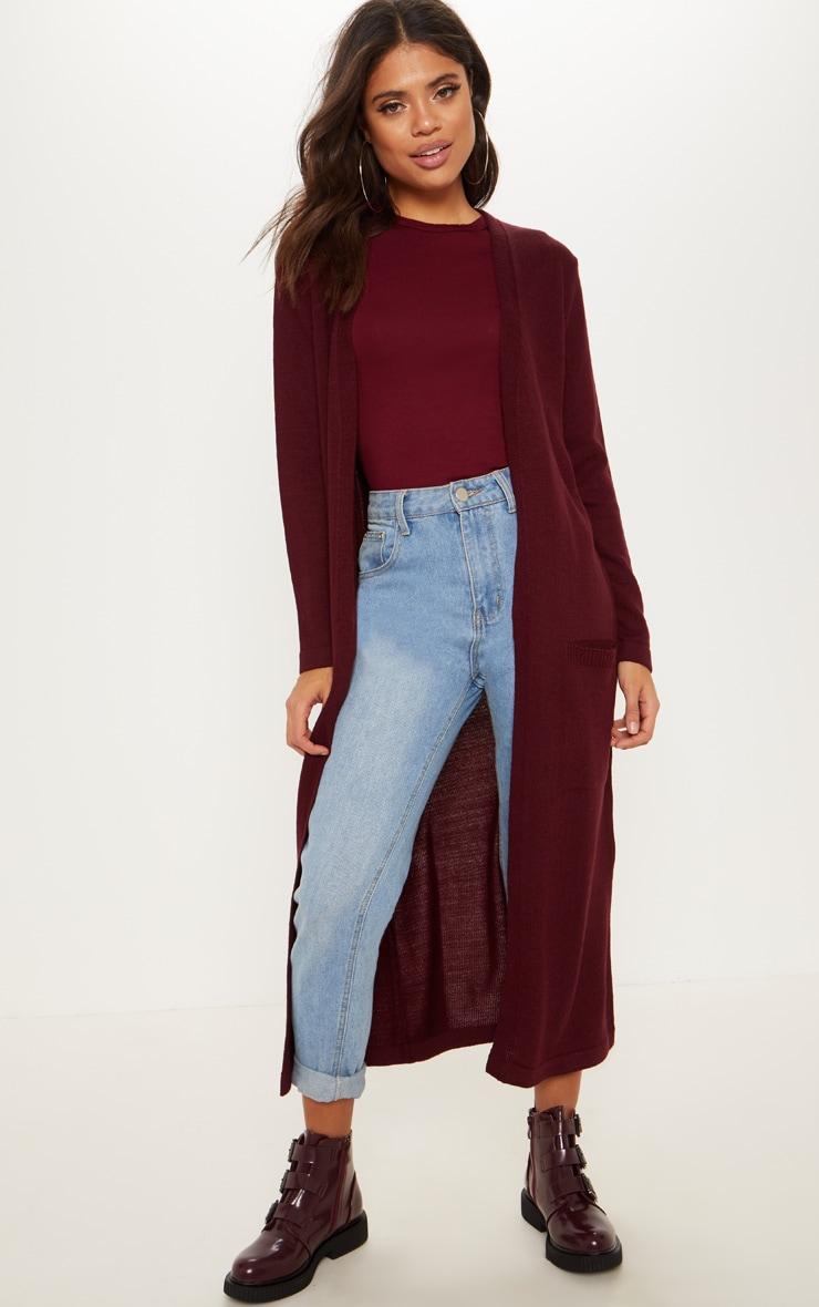 Cardigan long en tricot bordeaux à poches