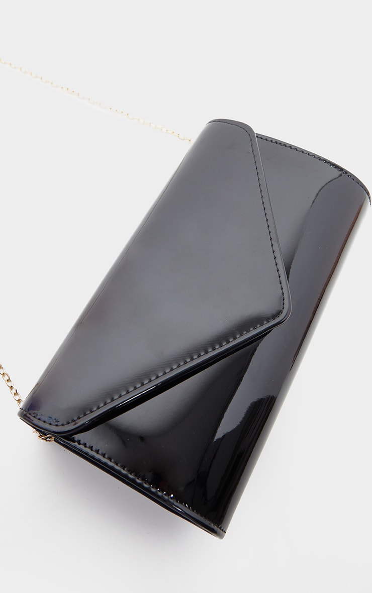 Black Patent Medium Envelope Clutch Bag 3