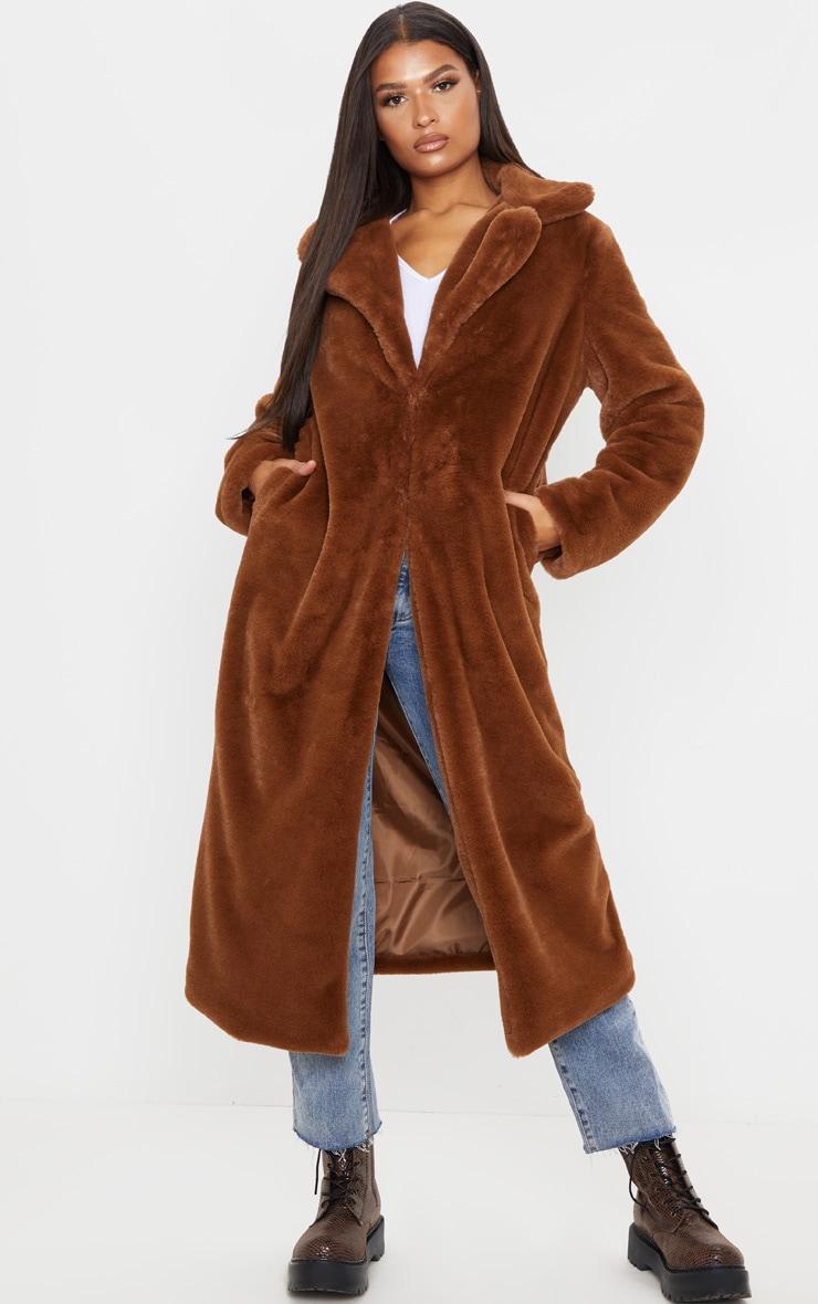 Dark Brown Maxi Faux Fur Coat 4