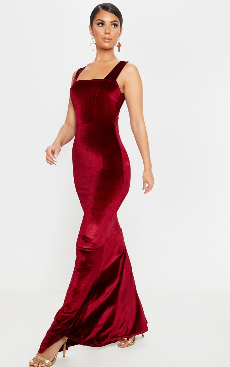 Burgundy Velvet Square Neck Fishtail Maxi Dress 4