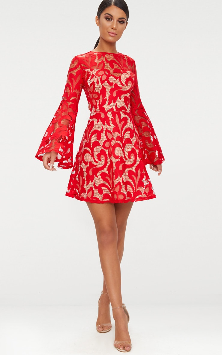 Red Flare Sleeve Lace Skater Dress 4