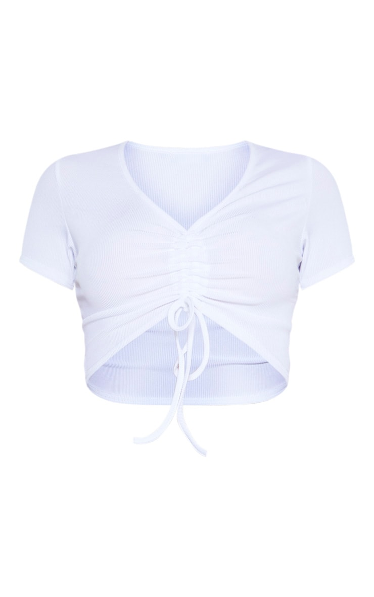 Tall White Ruched Detail Ribbed Short Sleeve Crop Top 4
