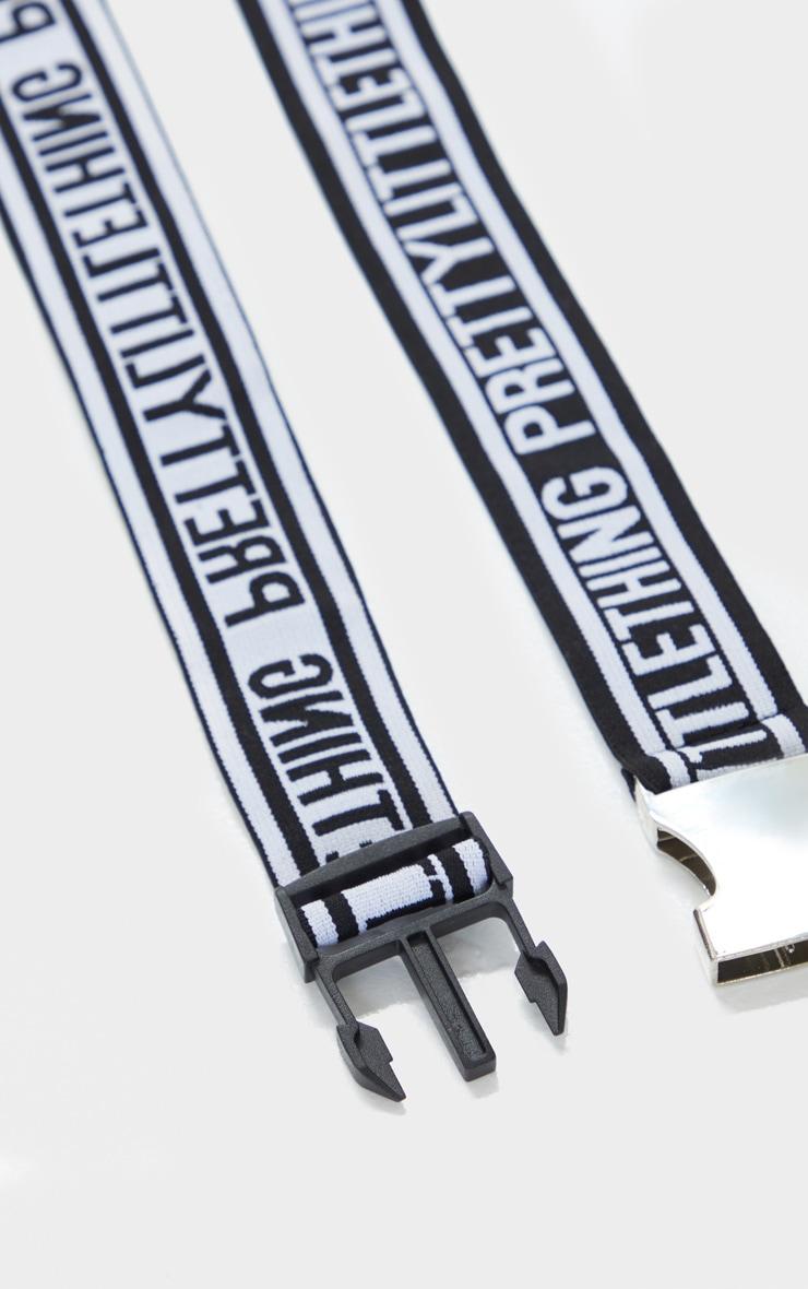 PRETTYLITTLETHING Monochrome Seat Belt Buckle Tape Belt 2