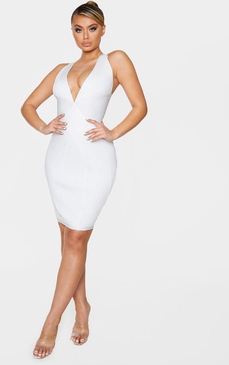 White Plunge Bandage Midi Dress 3