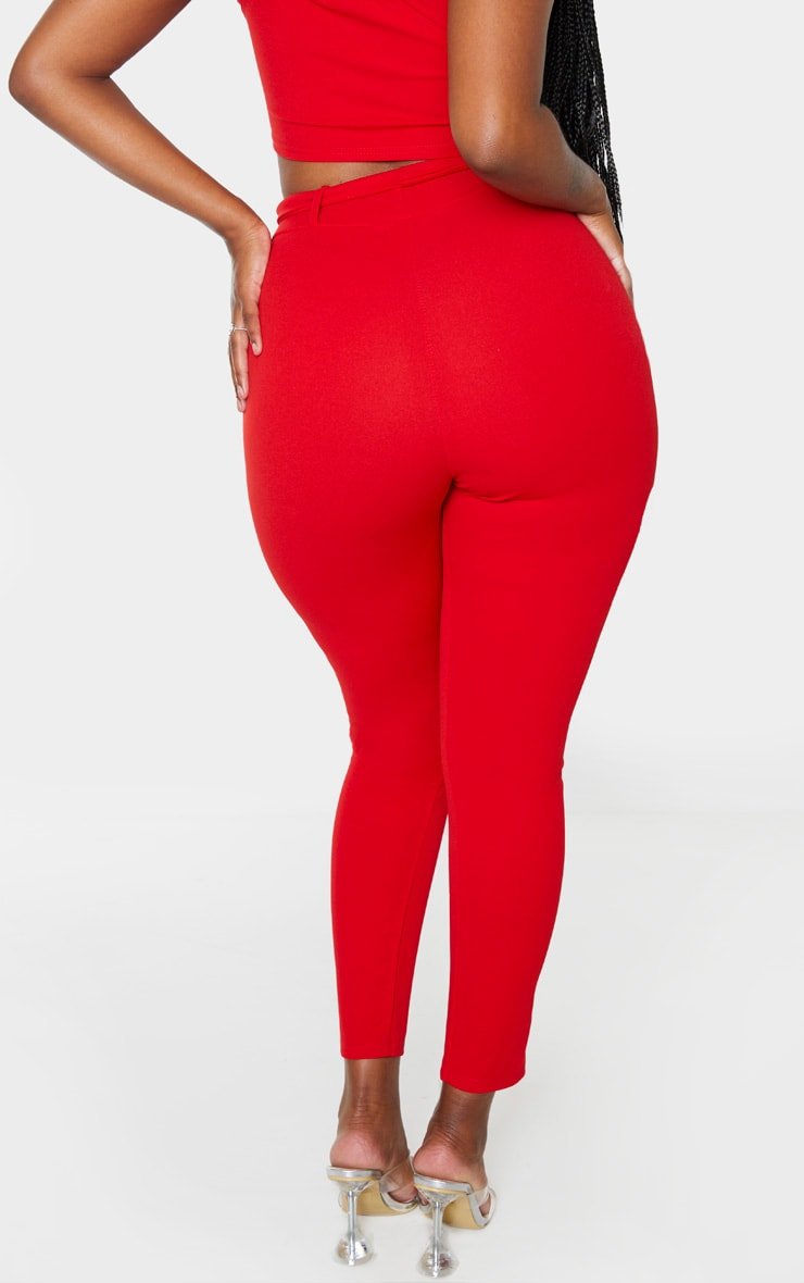 Shape Red Belted Tapered Pants 4