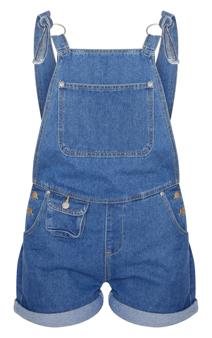 Mid Wash Short Dungaree 3
