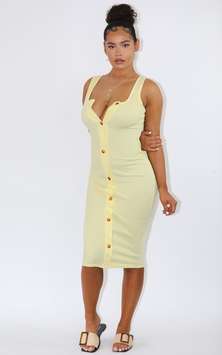 Pastel Lemon Ribbed Button Detail Midi Dress 3