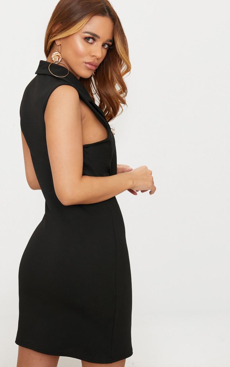 Petite Black Button Detail Sleeveless Blazer Dress 2