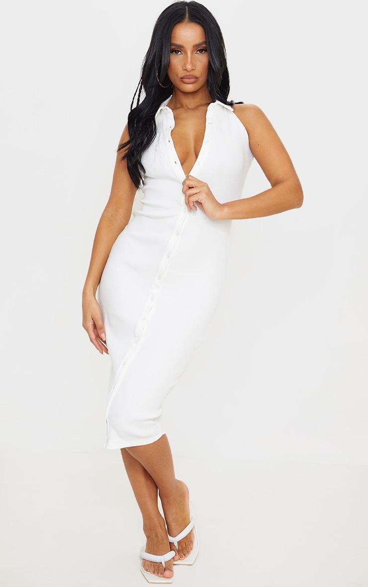 White Rib Button Down Sleeveless Midi Dress 1