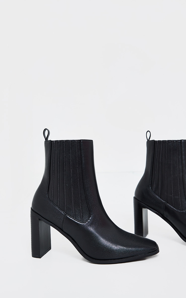 Black High Flat Block Heel Covered Chelsea Boot 2