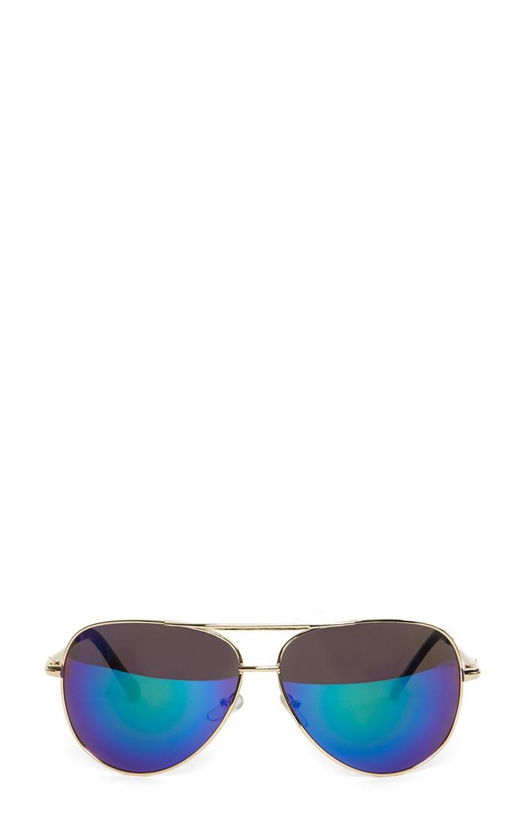 Katelin Gold Frame Blue Aviators 2