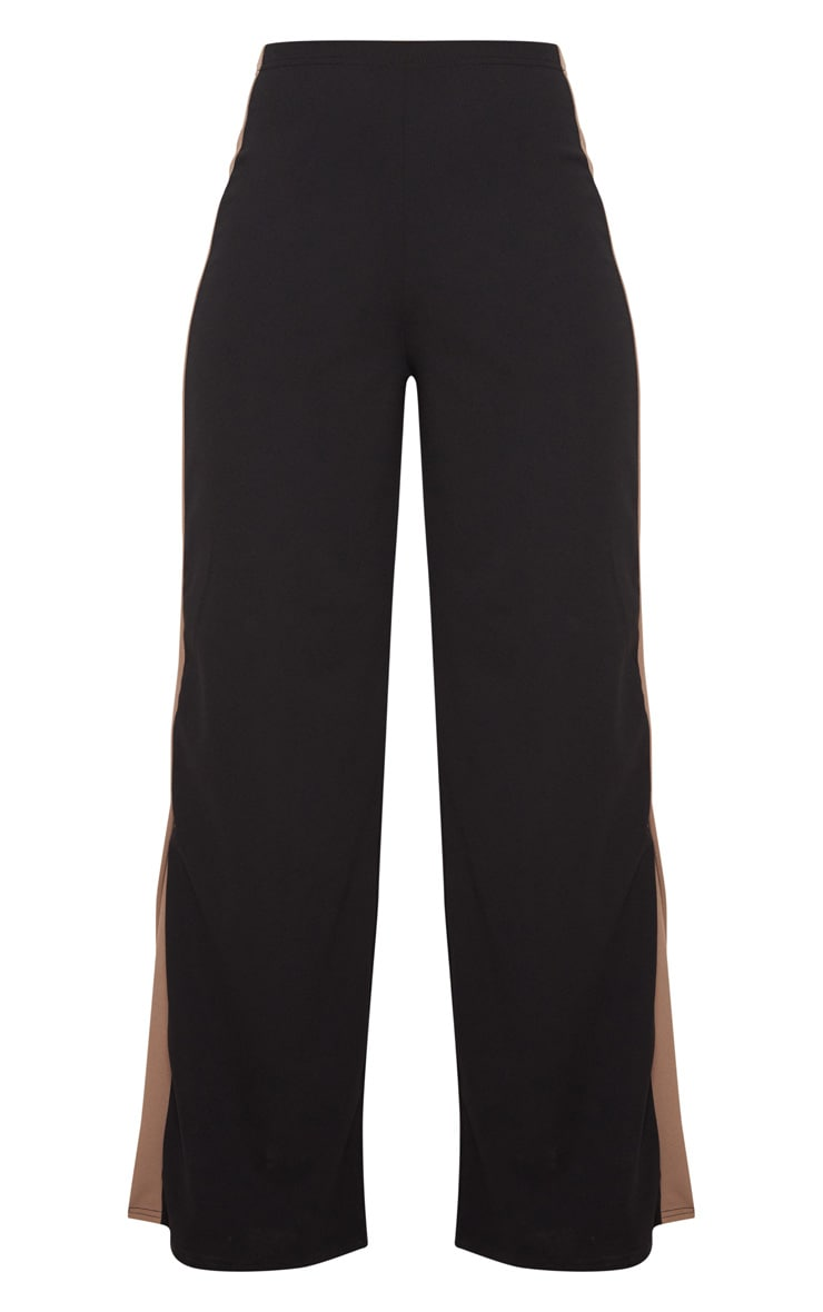 Black Contrast Side Panel Split Hem Wide Leg Trouser 3