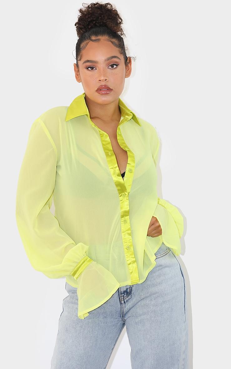 Pale Lime Chiffon Frill Cuff Shirt 1