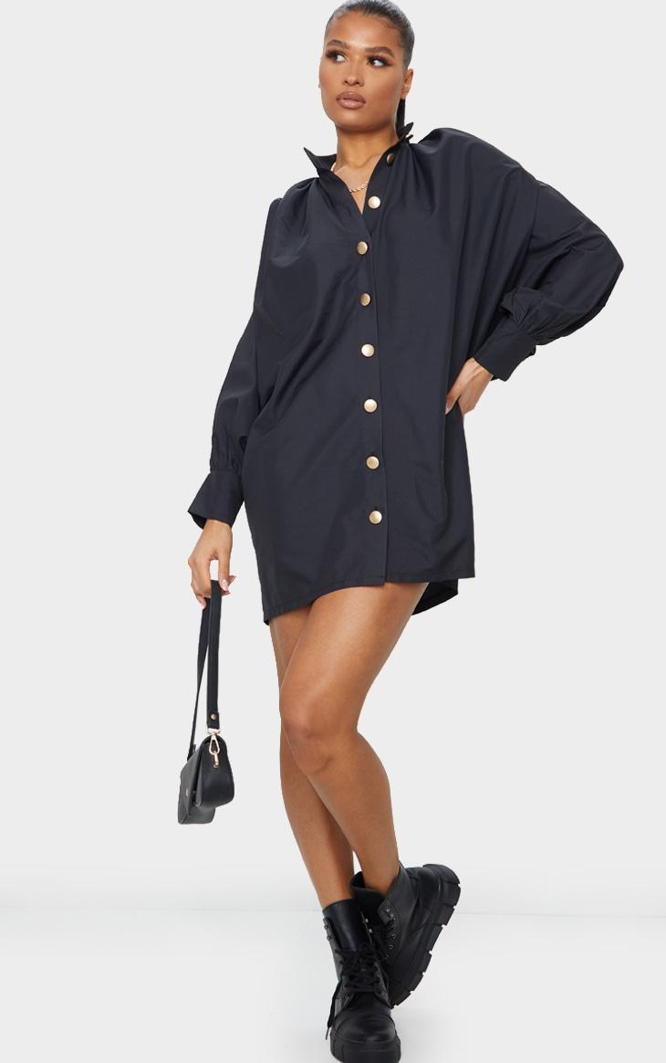 Black Gold Button Detail Shirt Dress 3