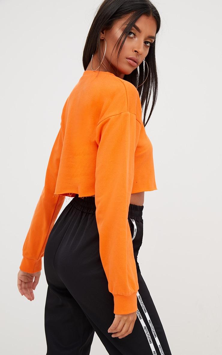 Hot Orange Cut Off Crop Longsleeve Sweater 2