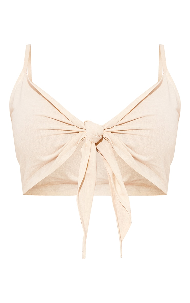 Sand Linen Feel Tie Front Strappy Bralet 5