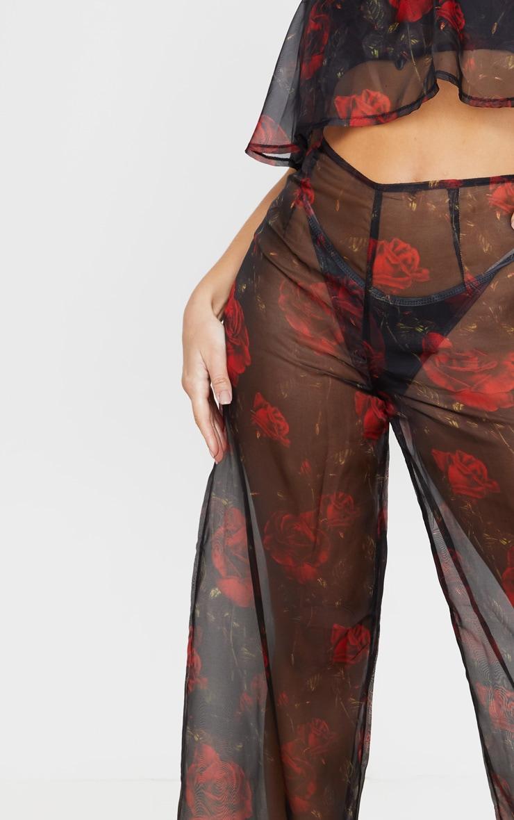 Black Rose Print Wide Leg Beach Pants 5