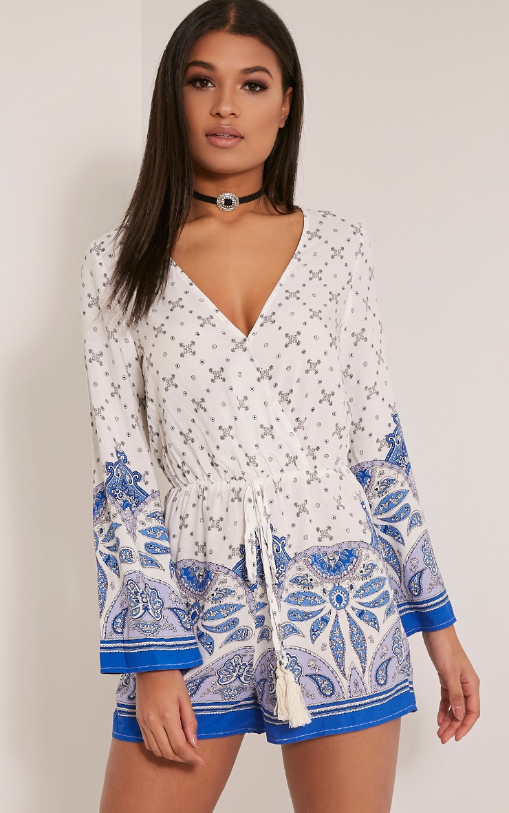Rosie Blue Border Print Playsuit 1