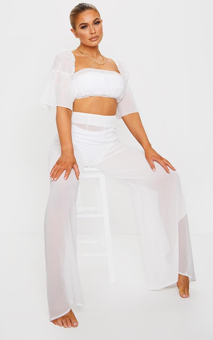 White Linen Look Puff Sleeve Beach Crop Top 1