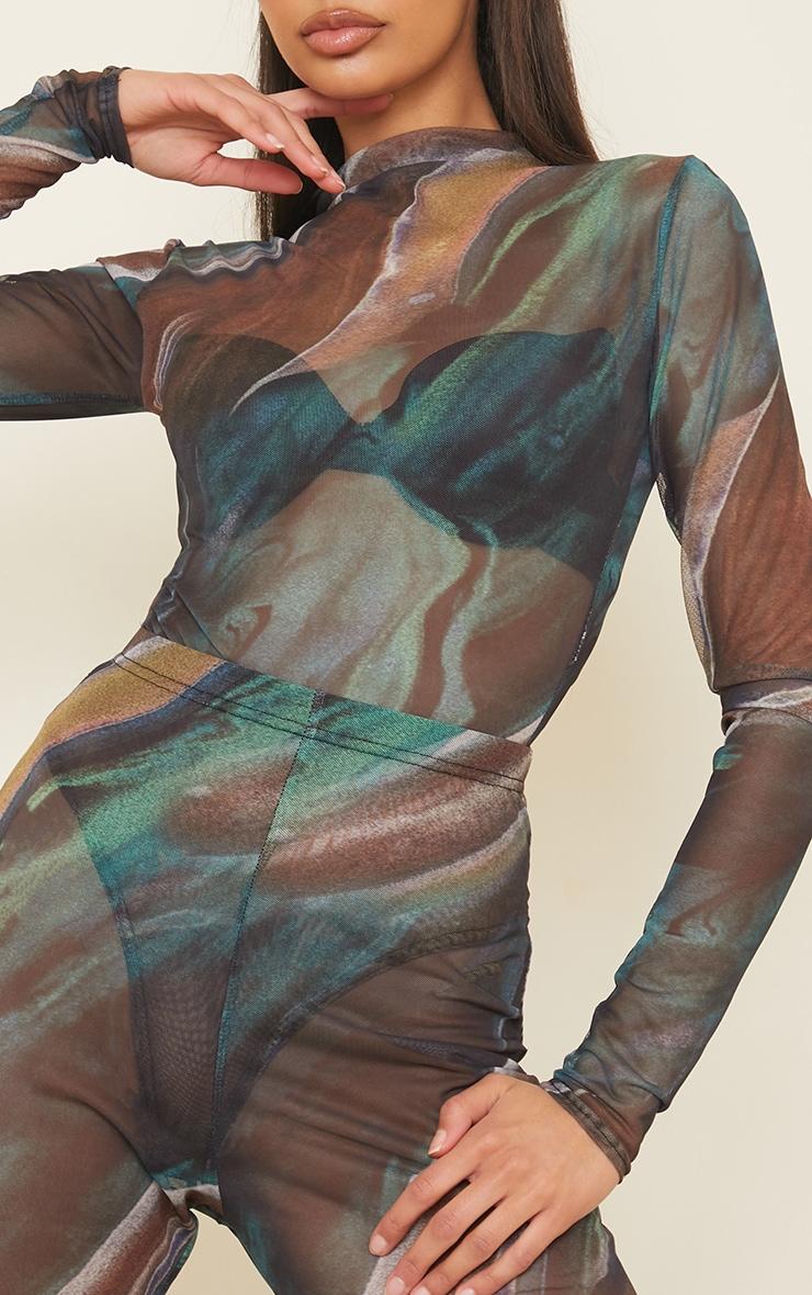 Green Swirl Printed Sheer Mesh High Neck Long Sleeve Bodysuit 4
