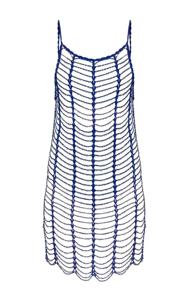 Cobalt Crochet Beaded Dress 3