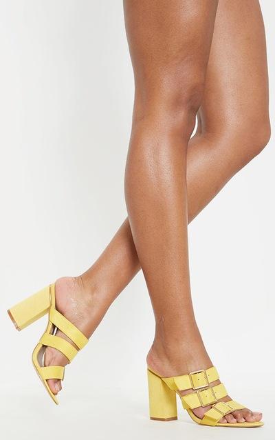 f48a69e2267d Yellow Triple Strap Buckle Mule Sandal