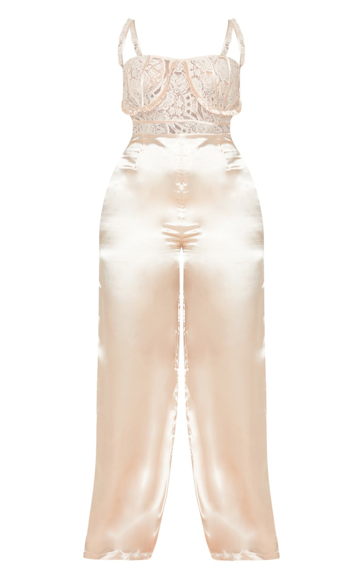 Champagne Frill Detail Lace Top Satin Jumpsuit 5