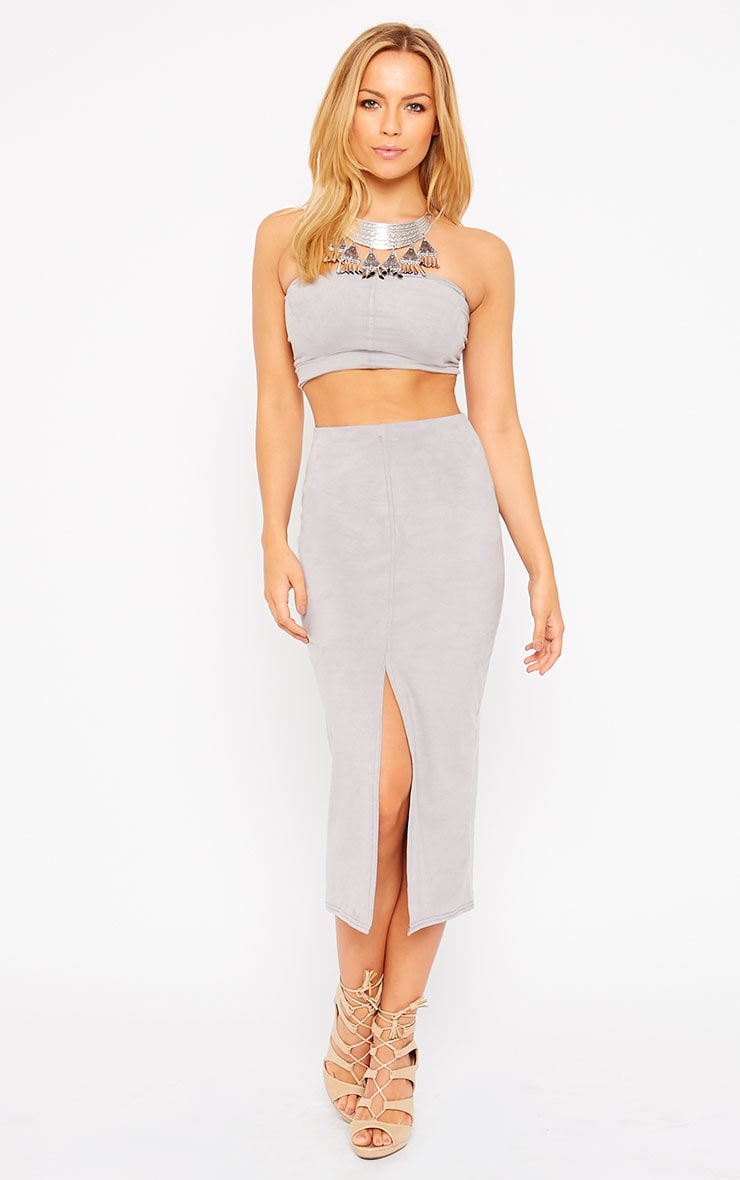 Riley Grey Suede Midi Skirt 1