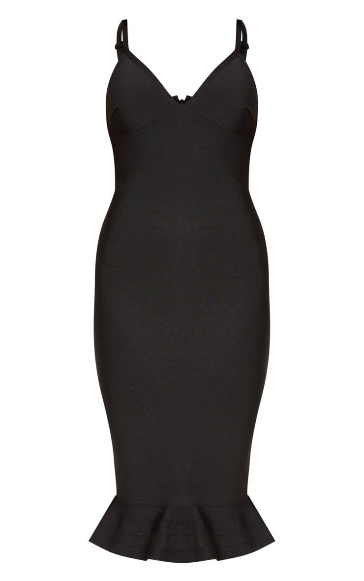 Black Bandage Strappy Frill Hem Midi Dress 3