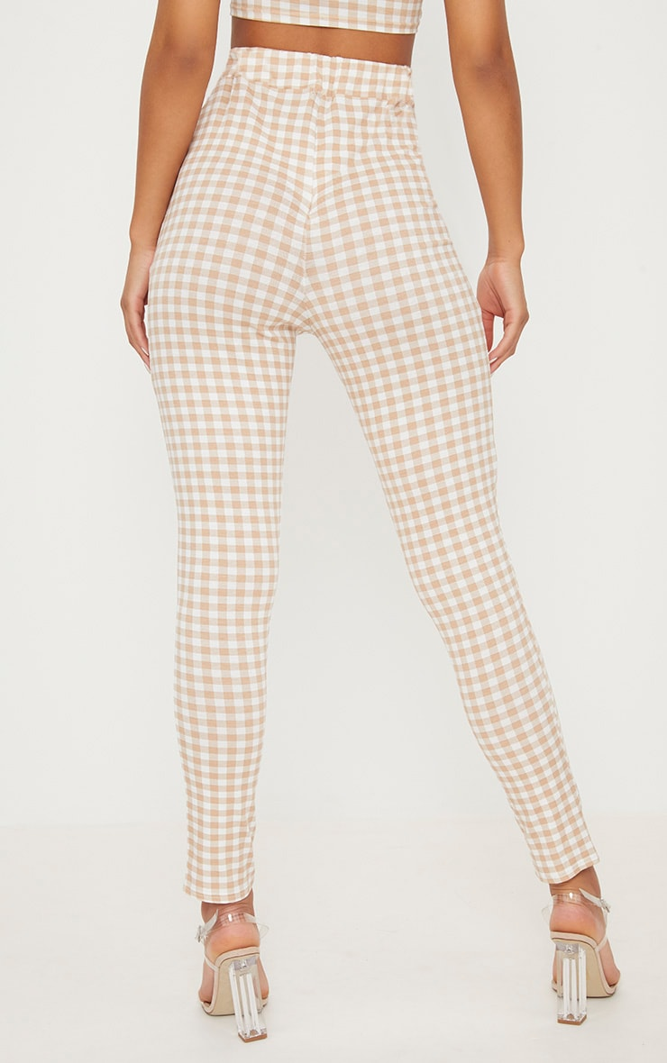 Nude Gingham Skinny Trousers 4