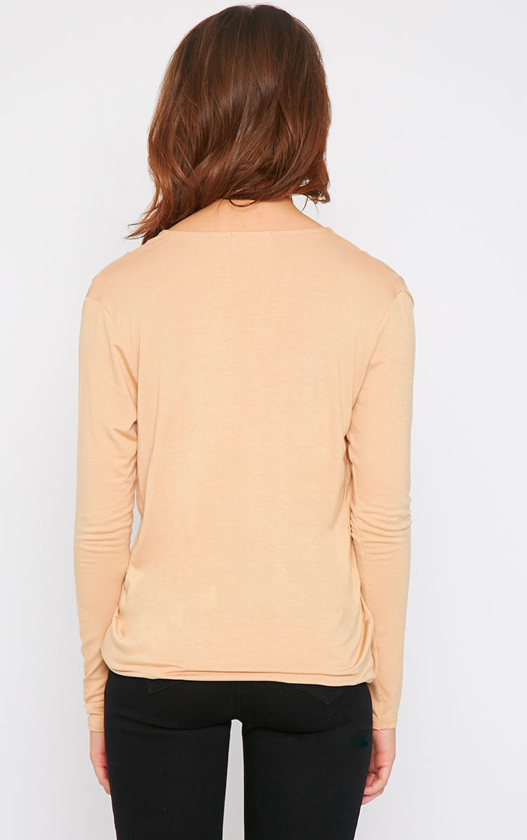 Alaia Camel Long Sleeve Wrap Top  3