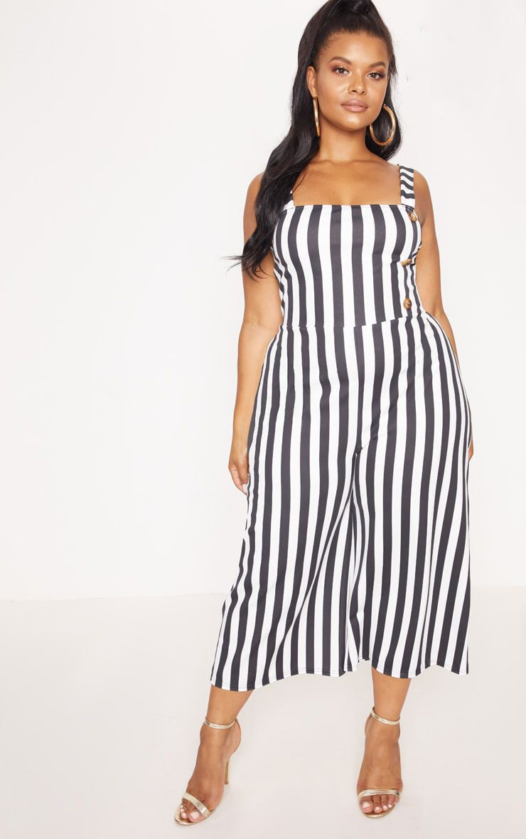 Plus Monochrome Stripe Tortoise Button Culotte Jumpsuit 1